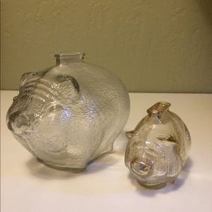 Two Anchor Hocking Piggy Banks